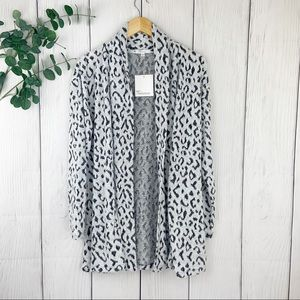 New! White Leopard Open Front Cardigan